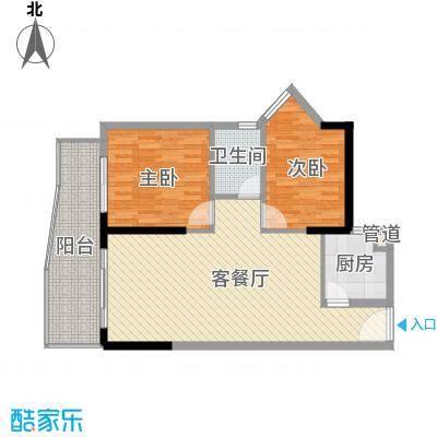 禹洲世纪海湾5.00㎡B/E型户型2室2厅1卫1厨