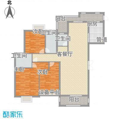 半山御景165.41㎡3#楼02单元户型3室2厅3卫1厨
