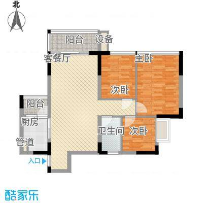 金碧丽江东第88.88㎡水云阁B-2户型3室2厅2卫
