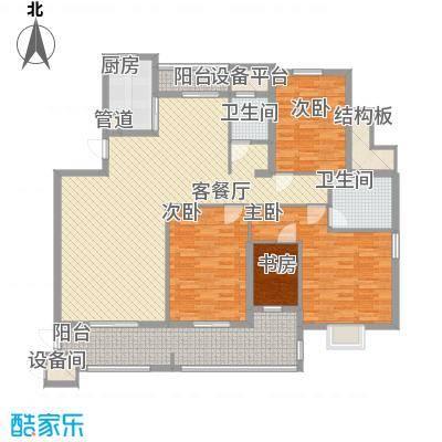 半山御景162.72㎡6#楼01单元户型3室2厅2卫1厨