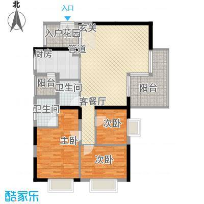 金碧时代广场132.17㎡户型3室2厅2卫