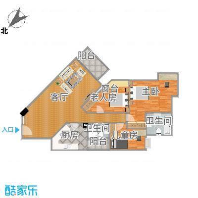 丽江花园左岸三室两厅户型-副本