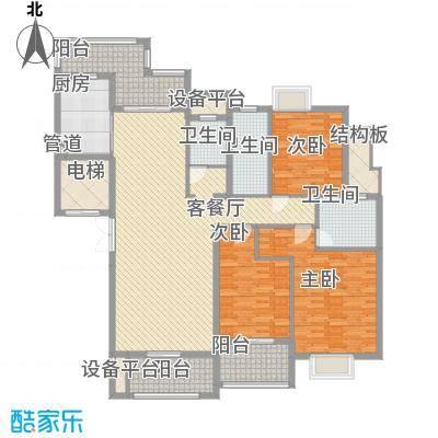 半山御景165.30㎡4#楼01单元户型3室2厅3卫1厨