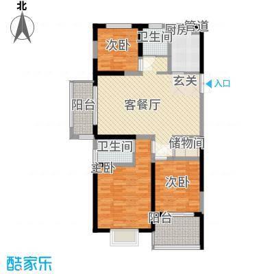 新铭基书香苑121.30㎡户型3室2厅2卫1厨