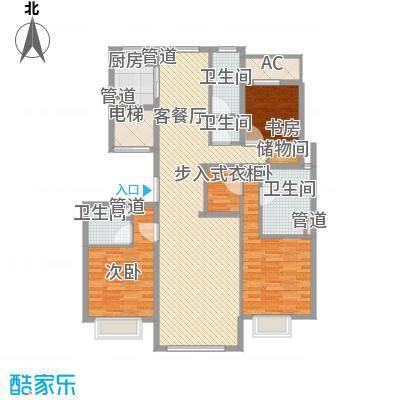 京投银泰・琨御府156.00㎡18号楼K户型3室2厅3卫1厨