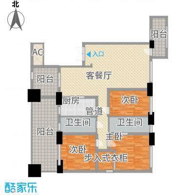 中骏天峰155.00㎡5#01单元户型3室2厅2卫1厨