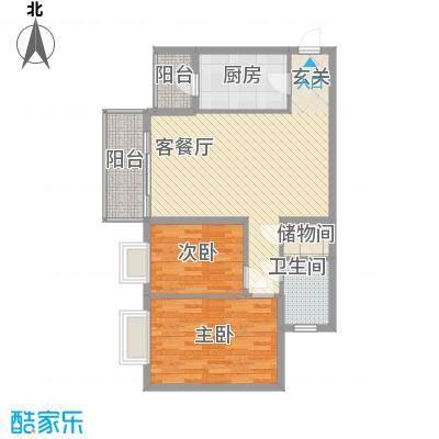 绿家园75户型2室2厅1卫1厨