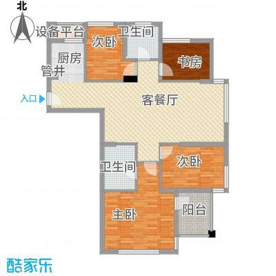 雅戈尔锦绣东城131.00㎡已售罄-二期B5户型4室2厅2卫1厨