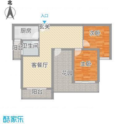 上河城D2户型3室2厅1卫1厨