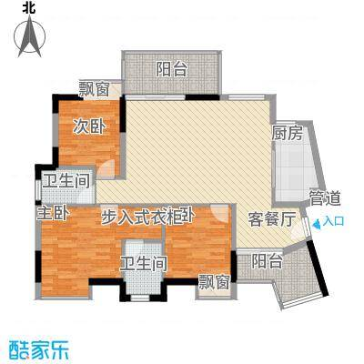 鸿泰八零3栋一单元户型3室2厅2卫