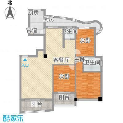 绿苑新城146.64㎡13#楼05单元户型3室2厅2卫1厨