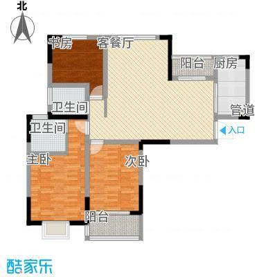 万福・君临天下124.12㎡E3户型3室2厅2卫1厨