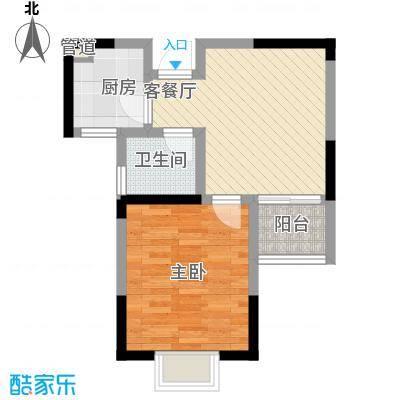 万福・君临天下56.40㎡A1户型1室2厅1卫1厨