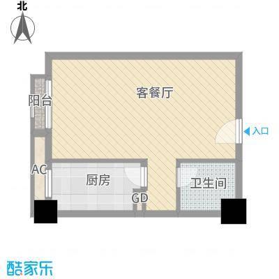 时丰中央公园52.23㎡DK1-7#C户型1室1厅1卫1厨