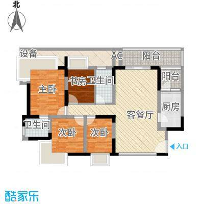 新世纪明上居136.00㎡户型3室