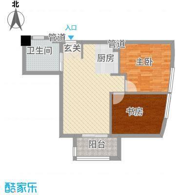 中铁财富港湾71.20㎡D1户型1室1厅1卫1厨