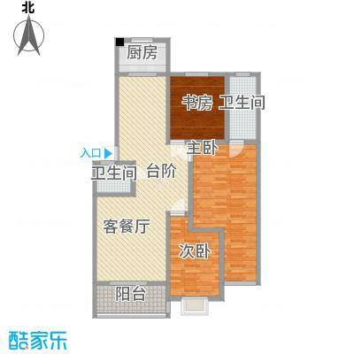 金贝庄园132.86㎡12#-2户型3室2厅2卫1厨