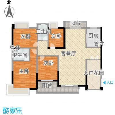 黄旗山1号158.60㎡1-2栋标准层A户型4室2厅2卫1厨