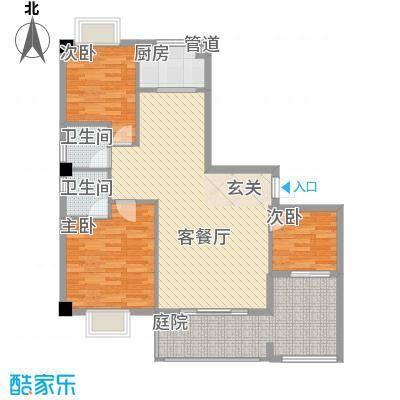 紫金家园5.11㎡2#楼2、3梯01单元户型3室2厅2卫1厨