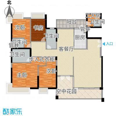 黄旗山1号233.22㎡3-4栋标准层B户型4室2厅3卫1厨