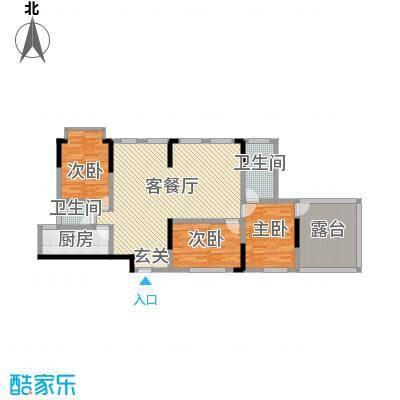 融景湾户型3室2厅2卫1厨