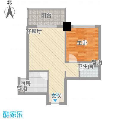 时尚国际37.00㎡单身公寓+户型1室1厅1卫1厨
