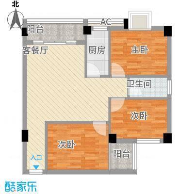 威斯广场82.84㎡户型3室1厅1卫1厨