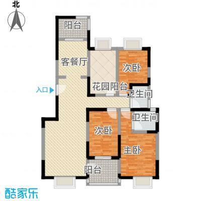 逸景�居132.30㎡8号楼C户型3室2厅2卫1厨