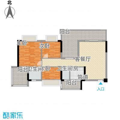 时代名轩123.00㎡08座3-17层平面图02单位123m2户型3室2厅2卫1厨