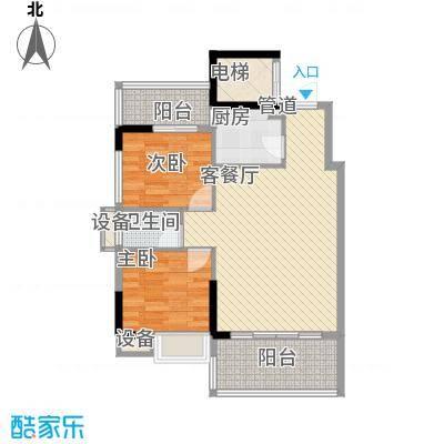 时代名轩77.00㎡01座2-17层平面图04单位77m2户型2室2厅1卫1厨