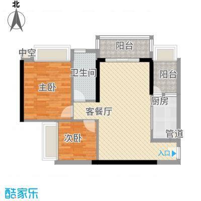 恒福新城81.10㎡33座305单位户型2室2厅1卫1厨