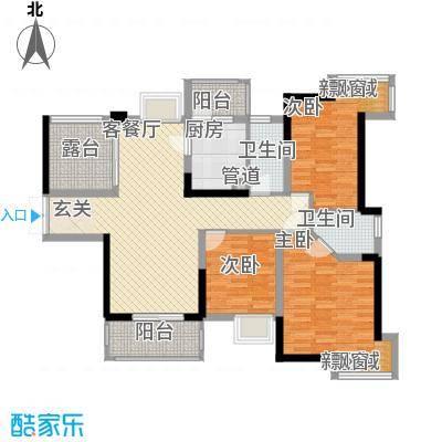 中央豪庭12.00㎡A1户型3室2厅1卫1厨