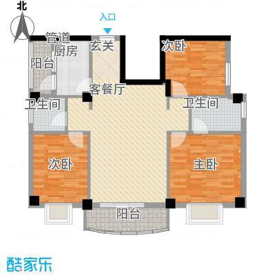 翔鹭花城新生活5号楼户型3室2厅2卫1厨