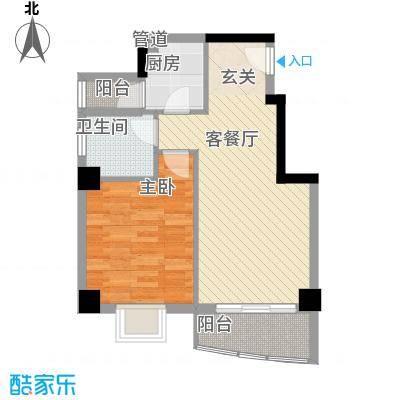 翔鹭花城新生活13号楼户型1室2厅1卫1厨
