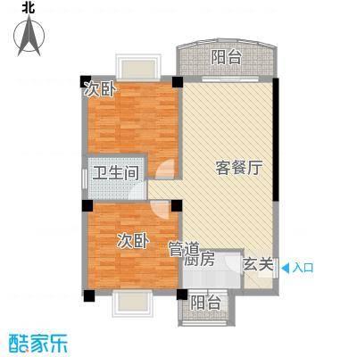 翔鹭花城新生活12号楼户型2室2厅1卫1厨