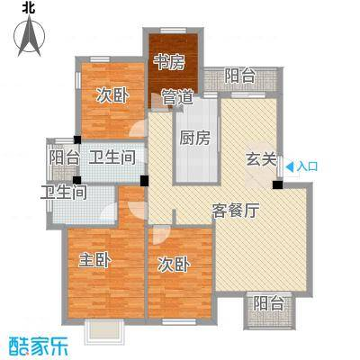 陆嘉家园户型4室2厅2卫1厨