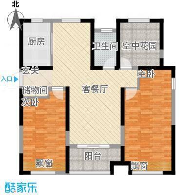 徽盐世纪广场111.00㎡一期D3户型2室2厅1卫1厨