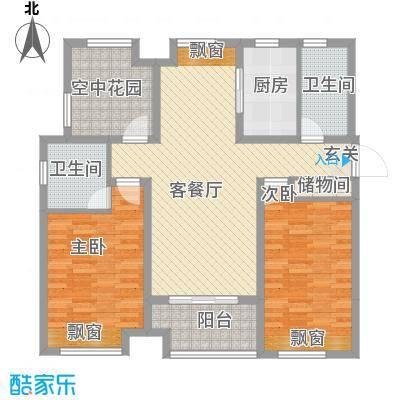 徽盐世纪广场111.00㎡一期D1户型2室2厅2卫1厨