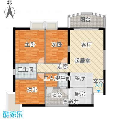 扬名海邑B栋B3平面图户型3室2厅2卫