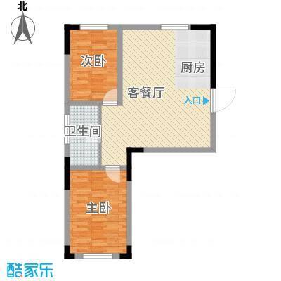 清泉旺第74.00㎡户型2室1厅1卫1厨