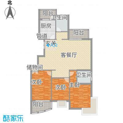 维科水岸心境12.00㎡小高层户型3室2厅3卫
