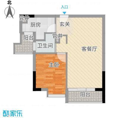 信和上筑66.00㎡B02、05号房户型1室2厅1卫1厨