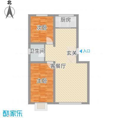 百居茗苑85.80㎡D户型2室2厅1卫1厨