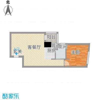 中铁财富港湾64.80㎡F型户型1室1厅1卫1厨