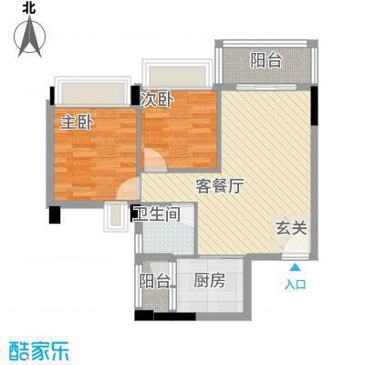 永江花园香溪6.00㎡1栋D户型2室2厅1卫1厨