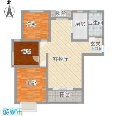 九里景秀112.00㎡A户型3室2厅1卫1厨