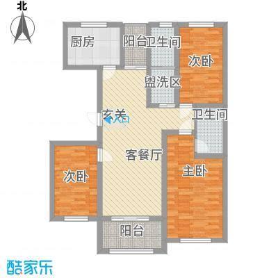 九里景秀11.00㎡E户型3室2厅2卫1厨