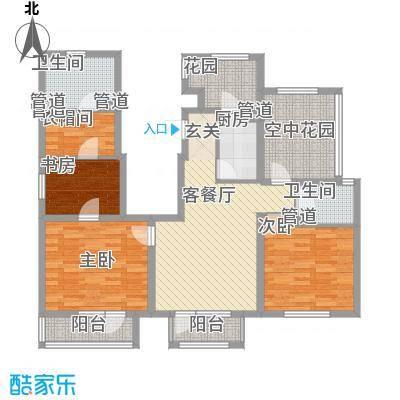 世茂・萨拉曼卡128.00㎡洋房顶层大三居户型3室2厅2卫1厨