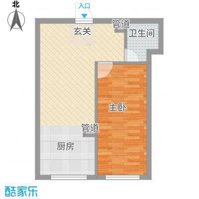 糖果社区二期48.54㎡125#I户型1室1厅1卫1厨