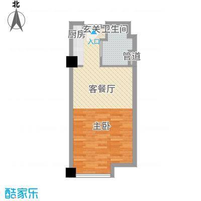 君域豪庭52.00㎡B户型1室1厅1卫1厨